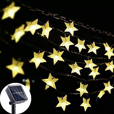 Viewpick Outdoor Solar Garden Star String Lights Solar Powered Twinkling Fairy Lights