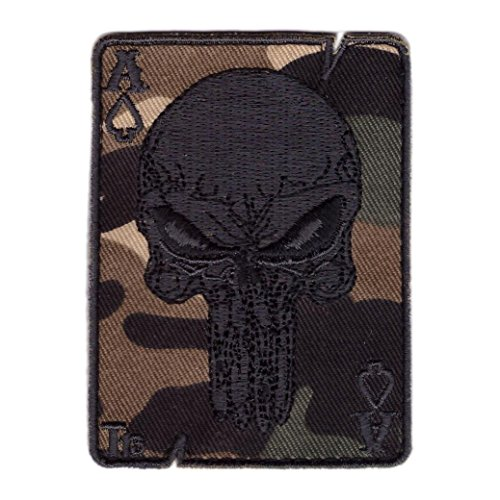 Titan One Europe Hook Fastener Camo Punisher Death Card Spades Tactical Morale Ace of Spades Patch Klettband Taktish Aufnäher