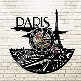 WERWN Reloj de París, decoración de Pared de Disco de Vinilo, Reloj de Pared de decoración de Dormitorio de la Torre Eiffel de París