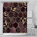 Xiongfeng Wasserdicht Marmor Geometrisch Muster Duschvorhang Textil 180x180 inkl. 12 Ringe Blickdicht Badewannenvorhang aus Polyester Violett Golden Blätter Vorhang mit Verstärkte Löcher