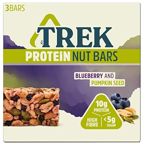 Trek Natural Protein Low Sugar Nut Bar Blueberry & Pumpkin 3 x 40g - Pack of 36 Bars