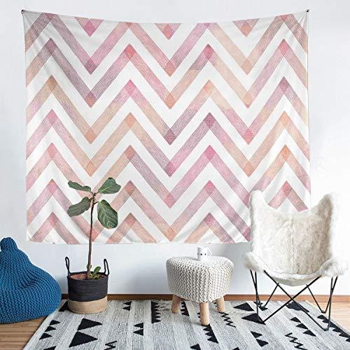 Tapiz geométrico de rayas rosas para colgar en la pared para niños y niñas, simple y moderno tapiz de pared, arte abstracto, arte de pared para dormitorio, sala de estar, 152 x 228 cm