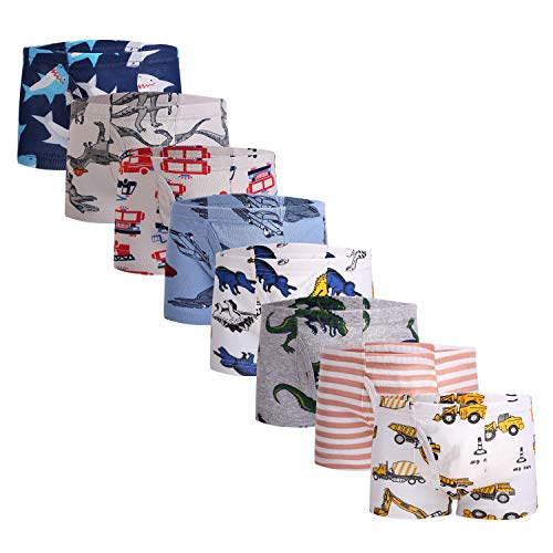 Little Boys Novelty Boxer Briefs Dinosaur Truck Toddler Kids Underwear (Pack of 8)