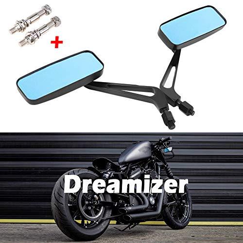 Dreamizer 8mm 10mm Rettangolo Specchietti Retrovisore per Moto, Stile Retrò Specchietti Laterali moto per Bobber Sportster XL883 1200 48 Dyna Street Glide Softail Fatboy