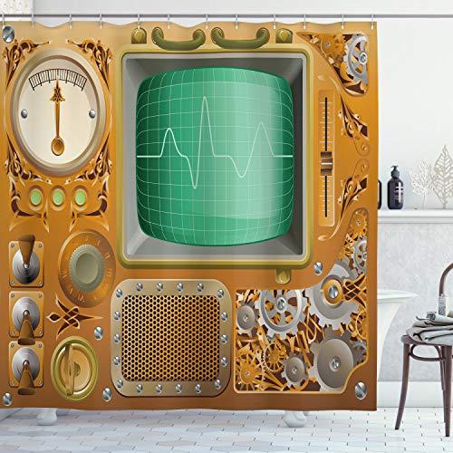 "Ambesonne Retro Shower Curtain, Industrial Victorian Style Grunge Steampunk TV Gauger Retro Clockwork, Cloth Fabric Bathroom Decor Set with Hooks, 70"" Long, Orange Green"