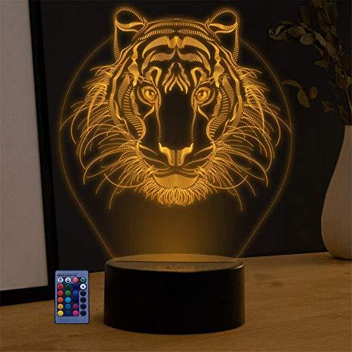 Lámpara de ilusión 3D León, regalo de Navidad, luz nocturna, interruptor táctil de 16 colores, regalo perfecto para cumpleaños, fiesta de Navidad para bebés, adolescentes y amigos