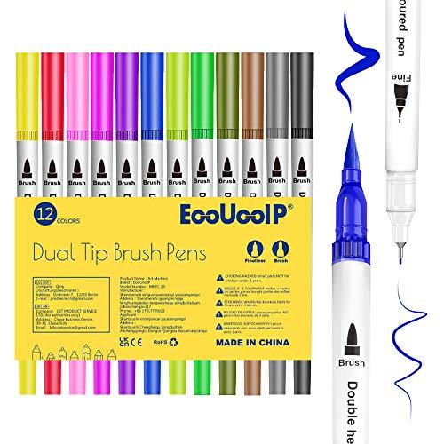 Farben Filzstifte Set, 12 Farben Wasserbasis Doppelfilzstifte Tinte auf , Markierungen auf Wasserbasis, Textmarker-Stift für Kalligraphie, für zum Zeichnen, Skizzieren, Malen und Kartengestaltung
