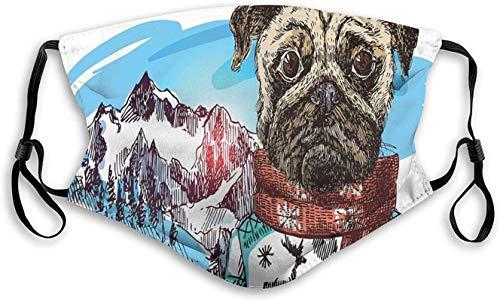 Sketch Style Hund mit Winterkleidung Schal Pullover Berge Hintergrund Open Sky Image, Wiederverwendbare Gesichtsmaske Sturmhaube Waschbare Outdoor-Nase Mundabdeckung für Männer und Frauen