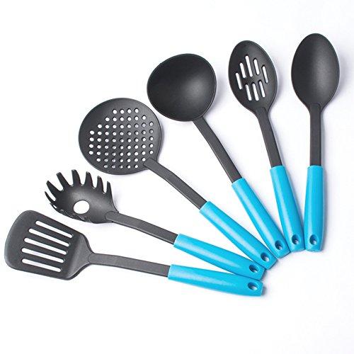 Set da cucina in nylon Jecxep confezione da 6Heat Resistant nylon sollevabile Kitchen–Set di utensili da cucina, Nylon, Blue, 6