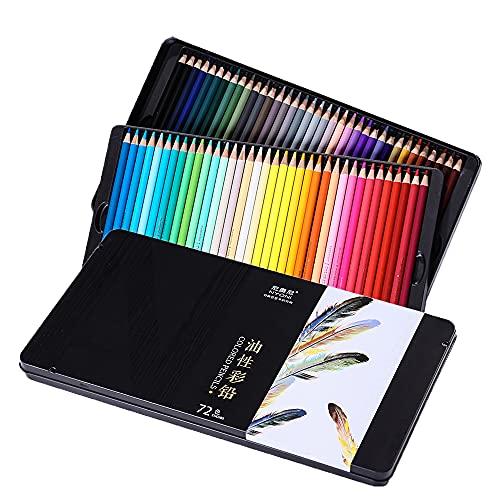 전문 아티스트 초보자 학생 우수 색상 혼합 레이어링 능력 그리기 공급을 위한 72개의 뇨니 오일 기반 색상 연필 세트