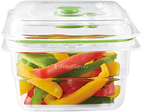 Foodsaver FFC005X Recipiente para envasar al vacío, 1,1 L, 1.2 litros, 0 Decibelios, Plástico, Transparente y verde