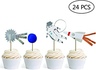 Space Theme Cupcake Toppers Picks Sun Stars Rocket Dog Birthday Party Supplies Favors Pack Of 24