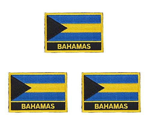 Aufnäher mit Bahamas-Flagge, bestickt, zum Aufbügeln oder Aufnähen, 3 Stück