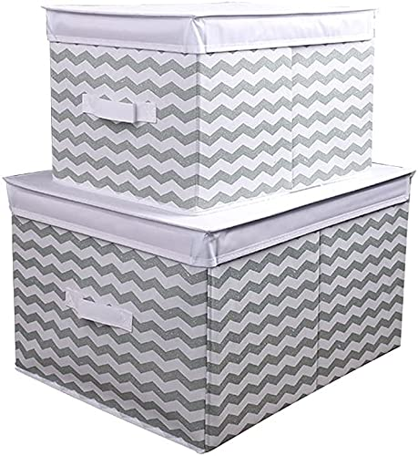 FGWE Storage Boxes, Large Organiser Box, with Lid Handles, for Wardrobe Cupboard Living Rooms Offices Kitchens Bathrooms, for Storage Clothes Books Cosmetics Toys,Green