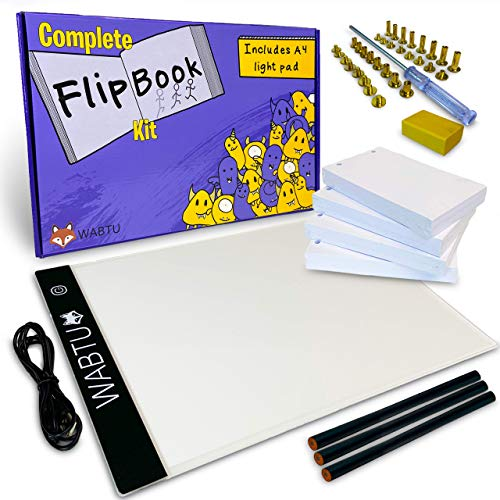 Flip Book Kit with Light Pad for Tracing, Drawing, Animation | Flipbook with LED Light Box, 400 Sheets of Paper with Holes, Pencils, Eraser, Binding Screws | Lightbox Tablet
