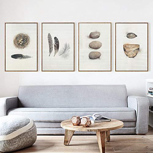 NLZNKZJ Abstracte veer vogelnest kom canvas schilderwerk, kunstdruk poster afbeelding muurschildering, wooncultuur schilderij 50x70cmx3 geen lijst