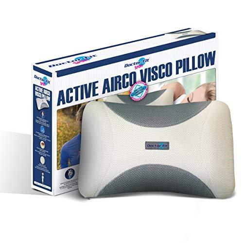 Almohada ergonómica - Relleno viscoelástico - Funda extraíble - 40 x 60 x 12 cm - Transpirable - Dr. Fit Airco Almohada Blue Line