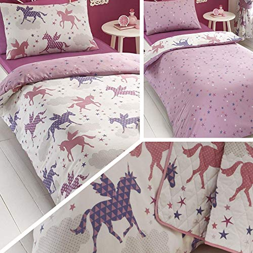 Kids Divine Unicorn Pink Purple Stars Reversible Bedding 50/50 Single Duvet Cover Set