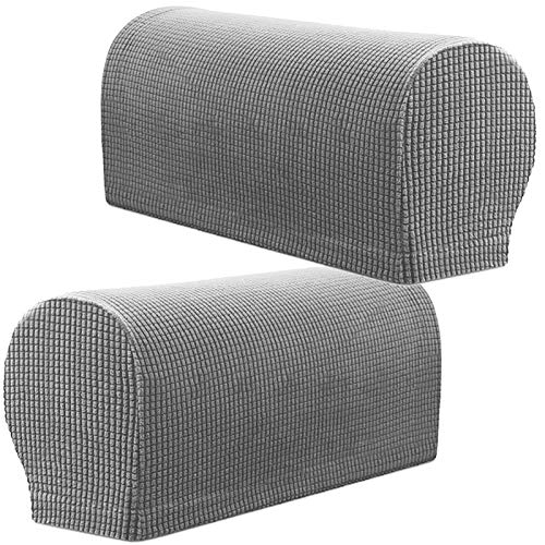 PBIEHSR Armlehnenbezüge, Stretch Sessel, Couch Armlehne Stuhlhussen für Möbelschutz, Anti-Rutsch-Sofa-Stuhl-Armkappen Spandex Polyester Schonbezüge 2er Set (Hellgrau)