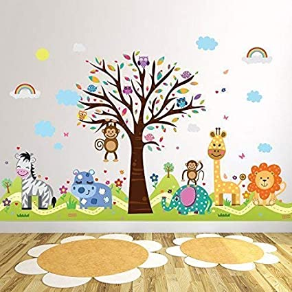 Wallflexi Office Home Decoration Wall Stickers Happy Hills Zoo Wall Murals Removable Self Adhesive Decals Art Nursery Kindergarden School Baby Toddler Children Kids Room Decoration Multicolour Amazon Co Uk Baby Products