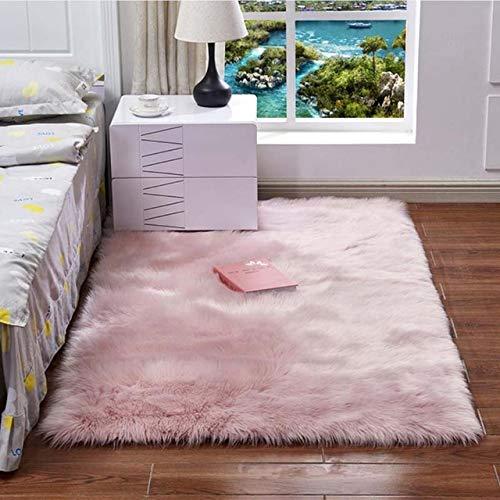 ASDAD Rechthoekige zachte kunstwol schapenvacht pluizig tapijt wit bont tapijt shaggy lang haar vaste mat startzijde