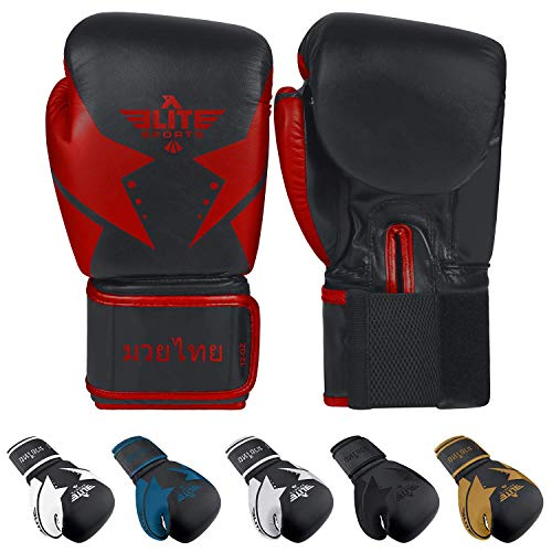 Elite Sports Muay Thai Gloves,Kickboxing Gloves,Women's Kickboxing Gloves,Best Muay Thai Gloves,Best Kickboxing Gloves,Best Women's Kickboxing Gloves, Red Muay Thai Gloves,12 Oz Muay Thai Gloves