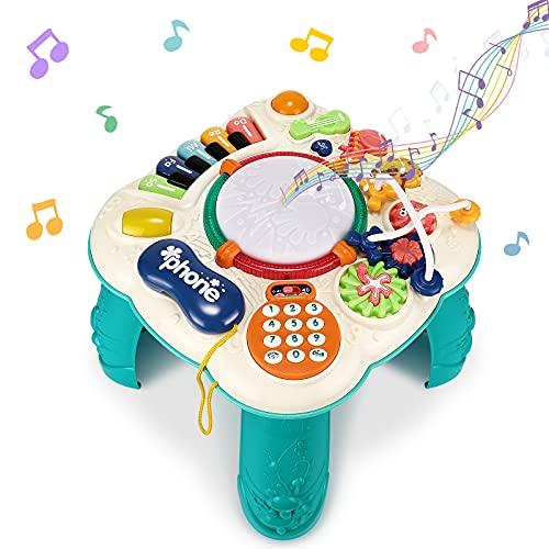 Magicfun Tavolo Multiattivita Bambini, Tavolino attività Musicale, Giochi Bambini con Luci, Suoni e Giocattoli Interattivi, Giochi Educativi Precoci, Regali per Neonati