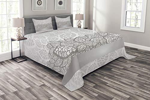 ABAKUHAUS Grau Tagesdecke Set, Lace Inspired Floral, Set mit Kissenbezügen Sommerdecke, für Doppelbetten 264 x 220 cm, Graue Pale grau