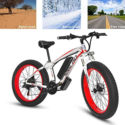 Bicicleta eléctrica de nieve, Electric Bike adultos eléctrica de bicicletas de montaña de 26 pulgadas Power Assist cercanías de bicicletas, batería de litio de 48V 15AH 500W aleación de aluminio de ci