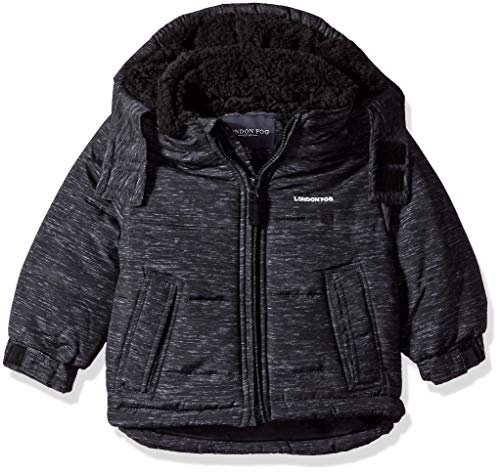 LONDON FOG Boys' Little Warm Winter Jacket with Cozy Lining, Heather Gray, 5/6