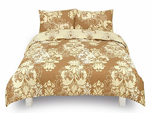 Todd Linens 3 Pcs Reversible Damask Floral Duvet Cover Set with 2 Pillowcases - Bedroom Decor for Quilts, Comforters with Stud Button Closure | 50-50 Polyester-Cotton Blend