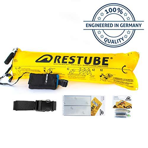 Restube Classic Kit de Iniciación con Boya de Natación – Incluye Cinturón Flotador Salvavidas Restube CLASSIC con Sistema de Inflado Rápido, Cinta Reflectante, 2 Bombonas de CO2 de Recambio y Silbato