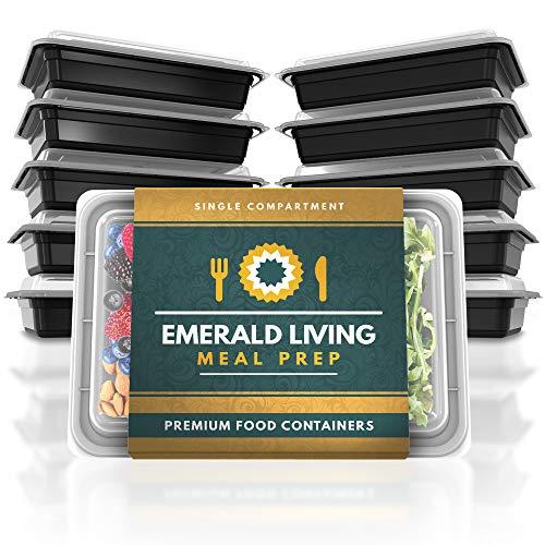 Emerald Living Juego de recipientes para Preparar Comida, 1 Compartimento, Negro, 1 Compartment