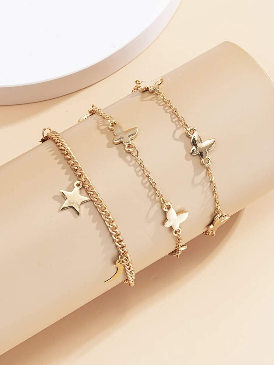 Max 53% OFF xiangshang Max 63% OFF shangmao Charm Bracelets Butterfly 3pcs Star