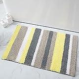 Buganda Microfiber Stripe Bathroom Rugs, Shaggy Soft, Absorbent, Machine Washable, Non-Slip Bath Mat and Bath Rugs for Bathroom(Yellow and Grey, 17'x24')