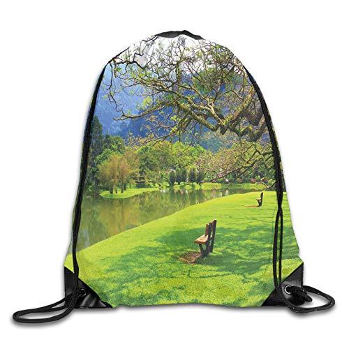 FULIYA Drawstring Backpack Bag for Men Women,Panoramic View of Public Lake Garden at Asian Park Idyllic Landscape,Great for Yoga, Travel, Hiking, Beach Bags