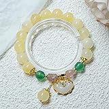 QiuYueShangMao Pulseras de Cuentas de ágata Amarilla Natural de la Suerte de Estilo étnico, Pulsera de hebra de Cristal de Fresa para Mujer, joyería de Moda, joyería de la Amistad
