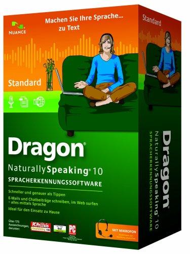 Nuance Dragon NaturallySpeaking 10 Standard, DE - Software de reconocimiento de voz (DE, Intel Pentium4/AMD Athlon 64 1GHz, Windows Server 2000/Server 2003/XP (SP2) 32-bit/2000 (SP4)/Vista, DVD-ROM, Microsoft Internet Explorer 6, DEU)