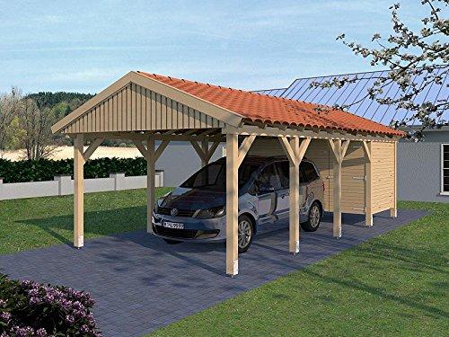 Carport (Satteldach) Monte Carlo X 400cm x 800cm, mit Geräteraum