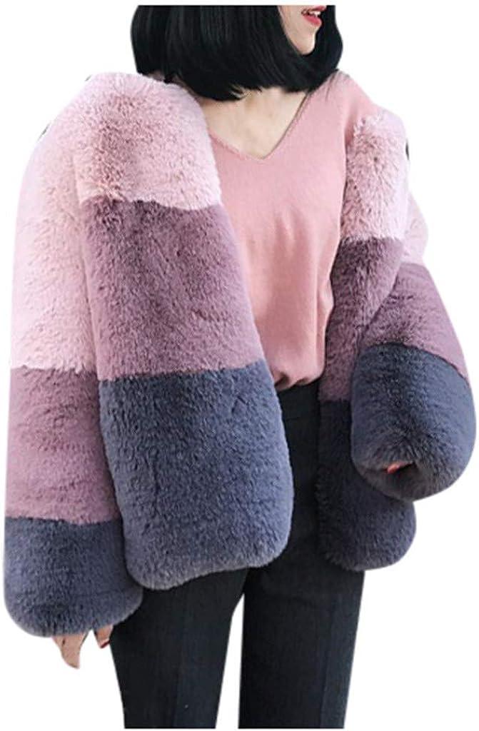 Women's Faux Fur Coat, Kangma Warm Furry Long Sleeve Patchwork Crewneck Shaggy Fleece Jacket Outerwear with Pocket