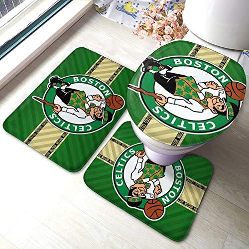 Dopy Boston Bathroom Rugs Basketball Fans Set 3 Piece Mat Set Bath Rugs Antiskid Pad+ Contour Mat + Toilet Lid Cover