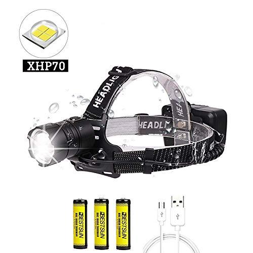 LUXJUMPER Linterna Frontal LED Recargable, XHP70 10000 Lúmenes Alta Potencia LED Lámpara de Cabeza Zoomable 3 Modos Linterna Frontale Impermeable para Camping, Ciclismo, Corrercon Baterías