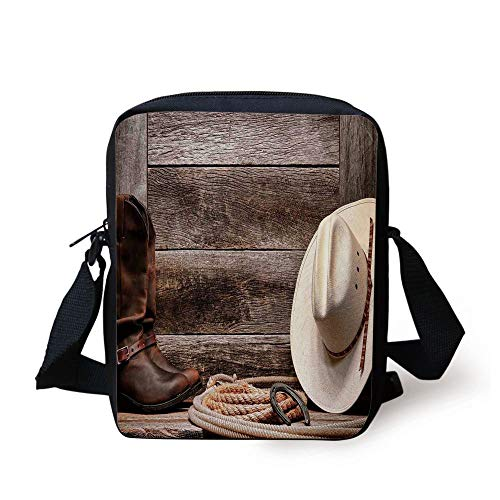 Ytavv Western Decor,American West Rodeo White Straw Cowboy Hat with Lariat Leather Boots on Rustic Barn Wood, Print Kids Crossbody Messenger Bag Purse