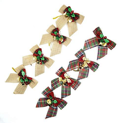 Fiocchi Di Natale Decorazioni Natalizie a Forma di Fiocco, con campanellini, per Feste, Compleanni, Matrimoni, Decorazioni da Appendere per Albero di Natale
