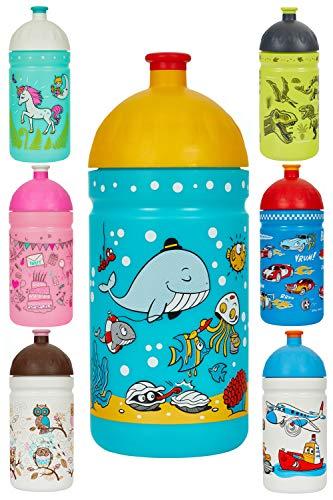 Eco Gourde 0,5L *Made in EU* Enfant sans BPA Bouteille d'eau vraiment saine et écolo (Le monde de la Mer)