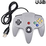 Classic N64 Controller, SAFFUN N64 Wired USB PC Game pad Joystick, N64 Bit USB Wired Game Stick Joy pad Controller for Windows PC MAC Linux Raspberry Pi 3 Sega Genesis Higan (Grey)