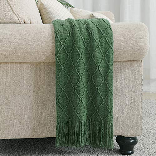 Bourina Textured Solid Soft Sofa Throw Couch Cover Knitted Decorative Blanket, Dark Green, 125x152cm
