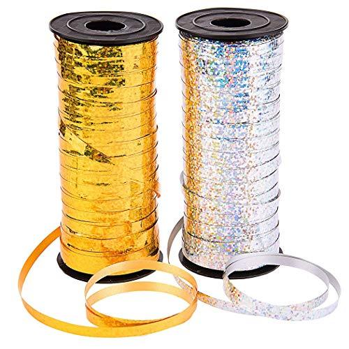 2 Rollen Ringelband, Zauber Geschenkband Polyband Silber Gold Geschenkbänder für Luftballons, Geschenkverpackung, Familienfeiern, Partys, Ostern, oder einem Abschlussball
