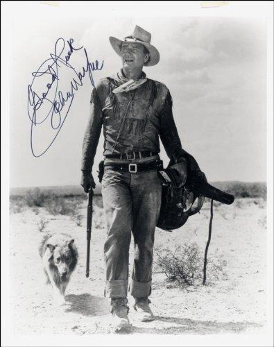 John Wayne Autogramm, glänzender Fotodruck, Größe etwa 30,5x20,3cm