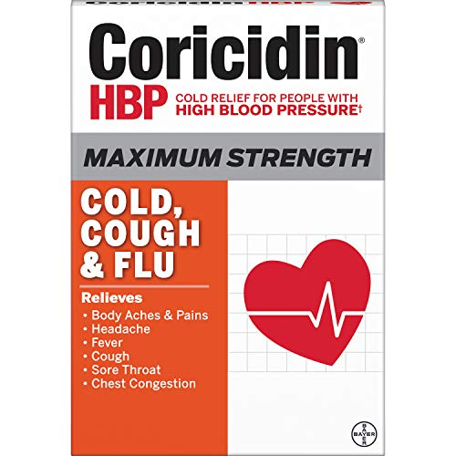 Coricidin Hbp, Decongestant-free Maximum Strength Cold, Cough & Flu Liquid Gels, 24 Count